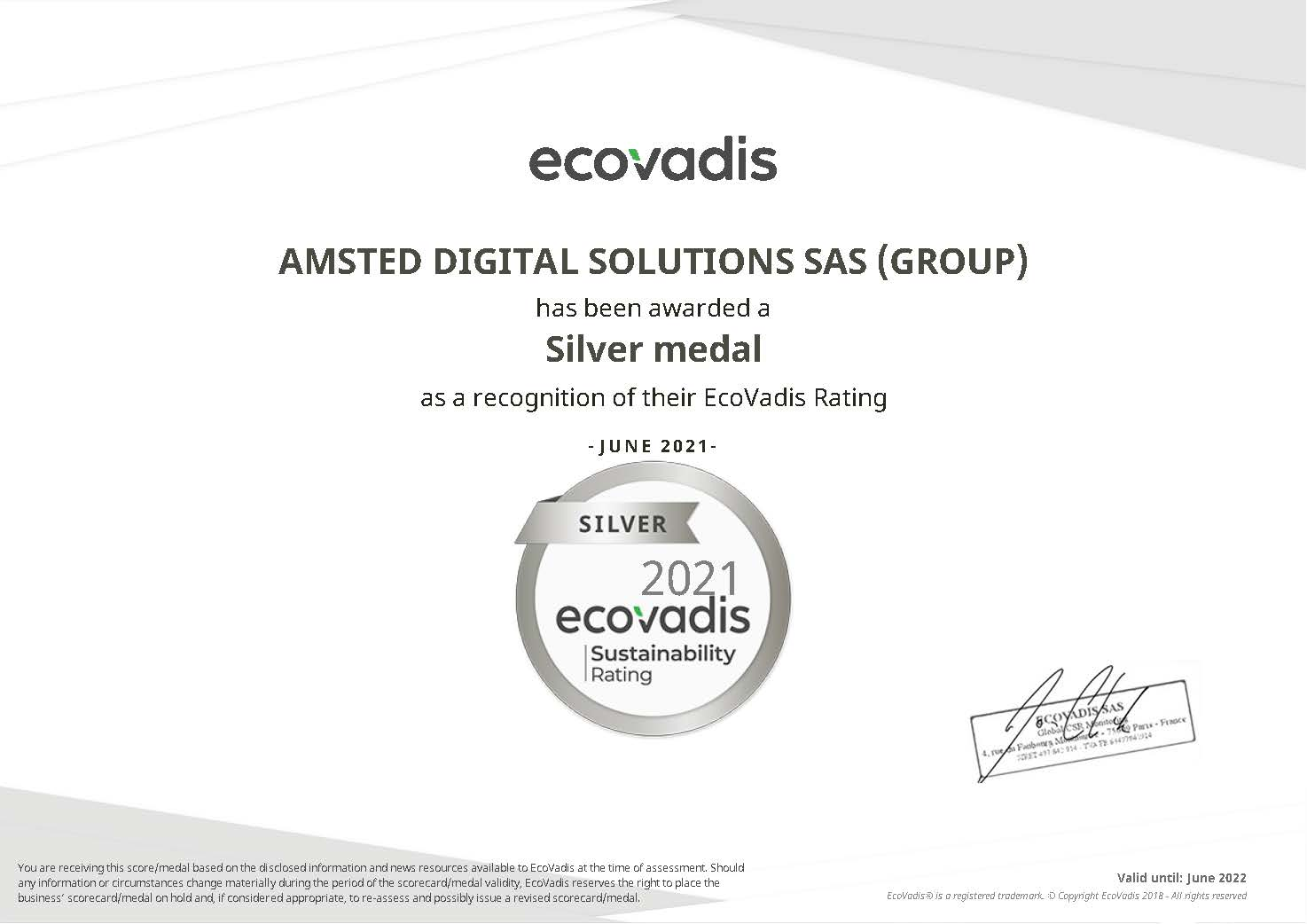 EcoVadis Silver Rating Certificate